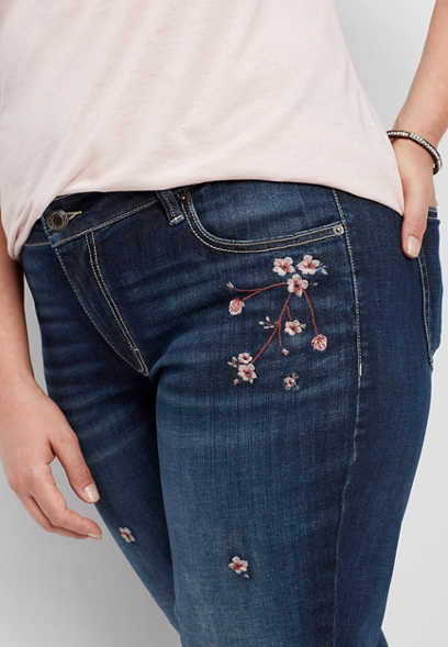 plus size DenimFlex™ floral embroidered boyfriend jean