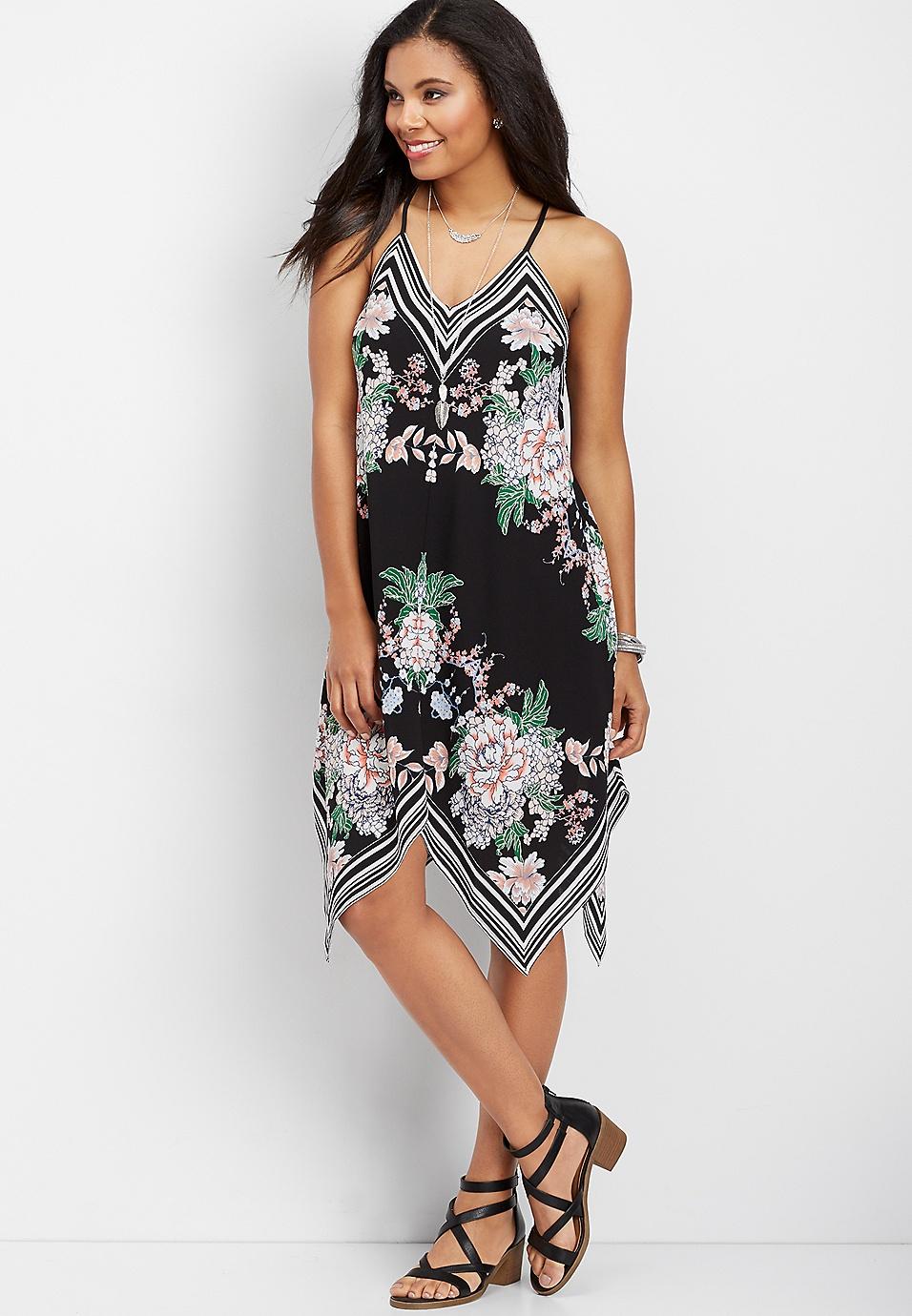 ff49bb56575 stripe and floral hanky hem dress