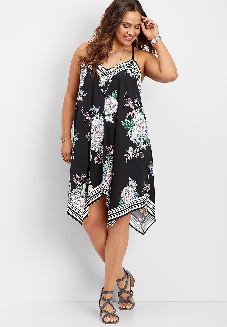 plus size stripe and floral hanky hem dress