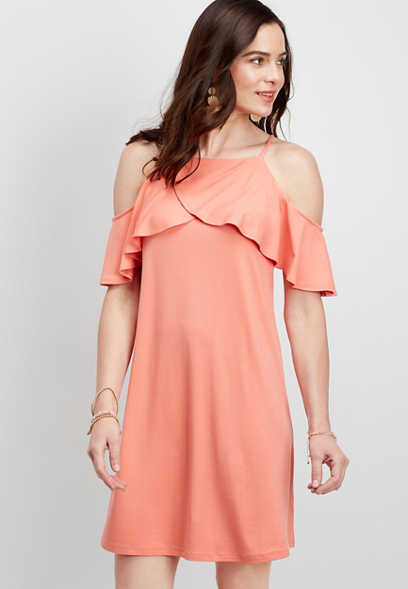 cold shoulder ruffled shift dress