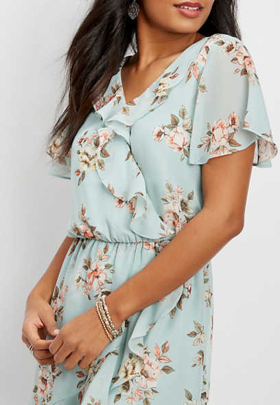 flutter sleeve floral chiffon wrap dress