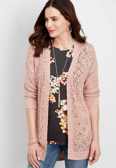 lace up back open stitch cardigan