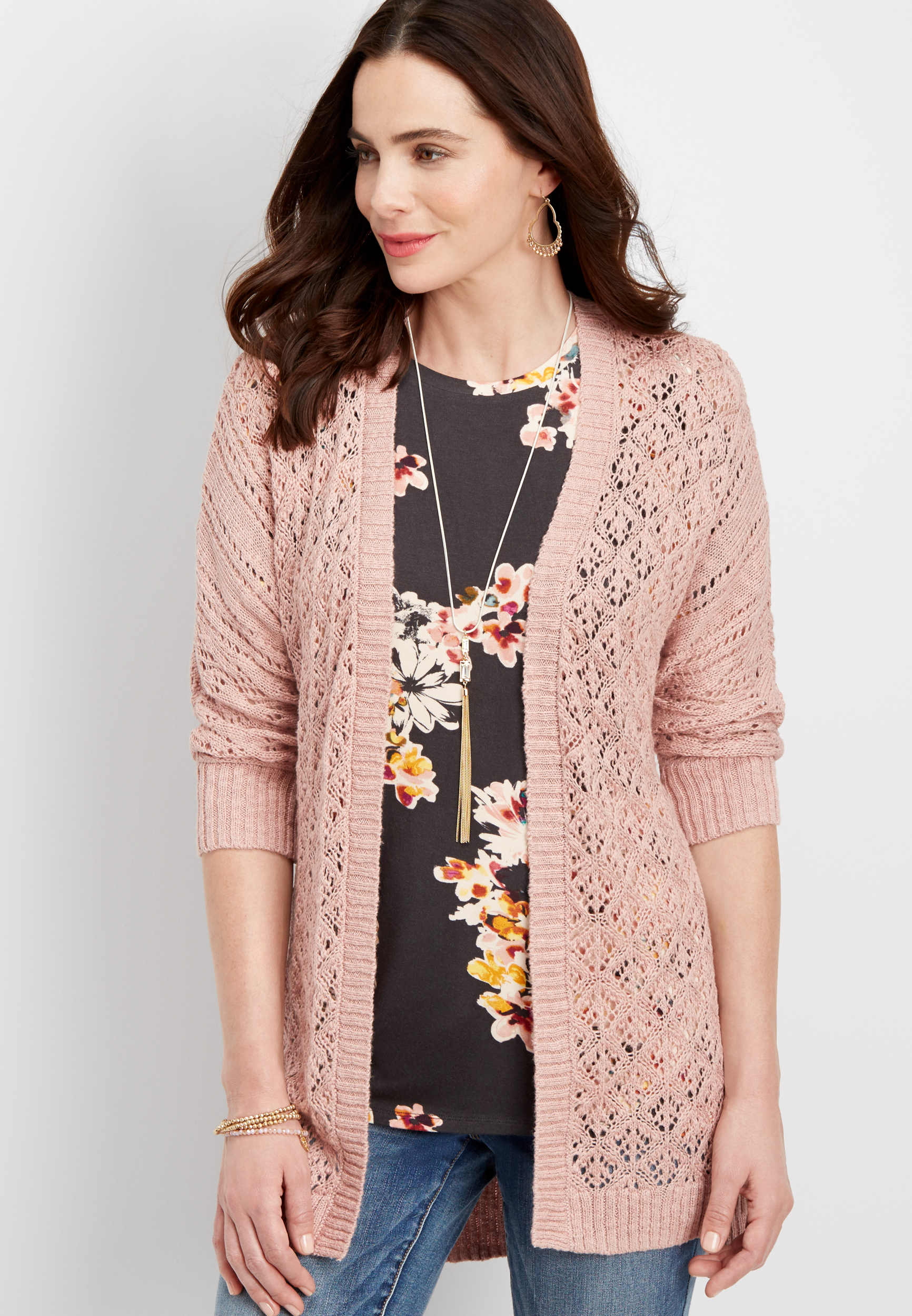 Plus Size - Lace Up Back Open Stitch Cardigan Maurices