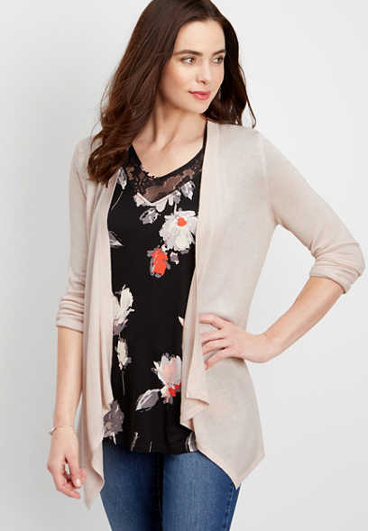 pointelle stitch lightweight cardigan