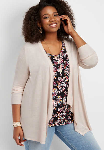 plus size pointelle stitch lightweight cardigan
