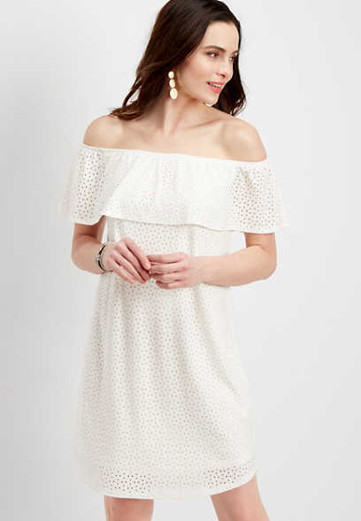 eyelet knit off the shoulder dress