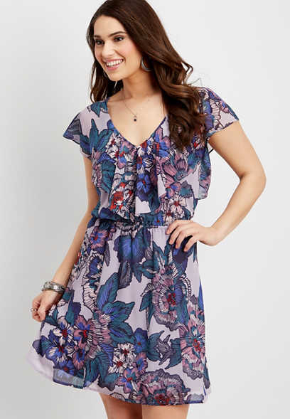 ruffle stitched floral dress