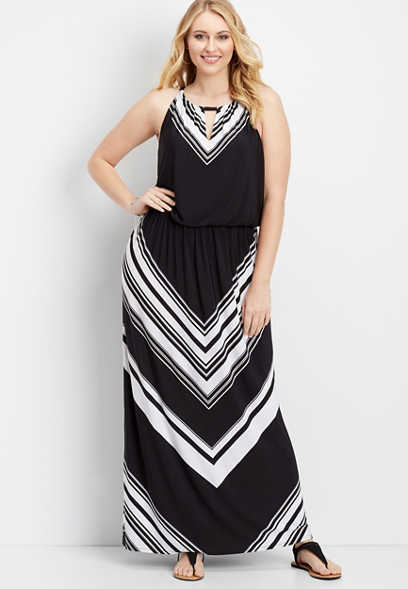 plus size striped keyhole maxi dress