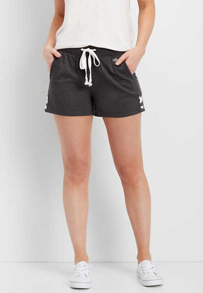 french terry side tie short