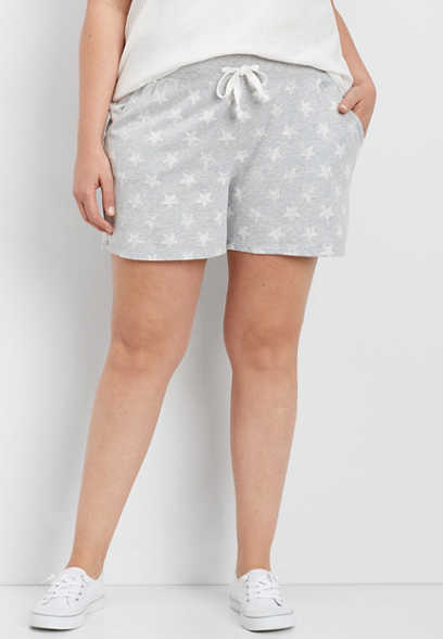 plus size french terry star print short