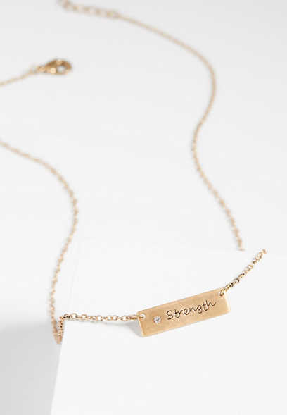 BCRF strength rhinestone tag necklace