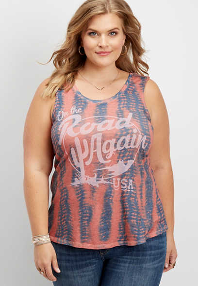 plus size road again graphic tank