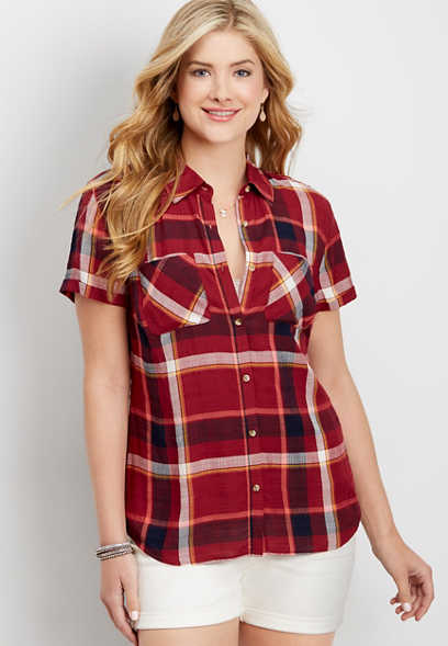 short sleeve plaid button down shirt