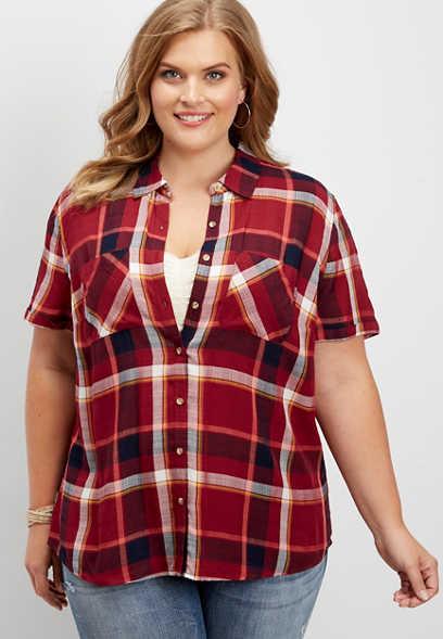 Explore Sale Online Plus Size - Plaid Button Down Shirt Maurices New Cheap Price Cheap Affordable Outlet Countdown Package Deals Online GcIDWpaycr