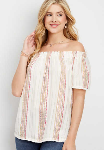lurex stripe off the shoulder tee