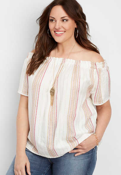 plus size lurex stripe off the shoulder tee