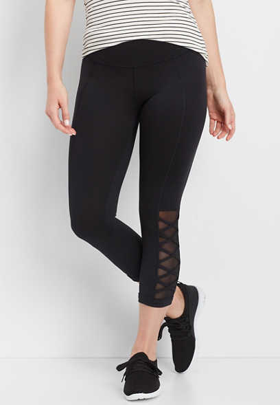 black side criss cross active capri