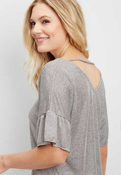 textured ruffled sleeve tee