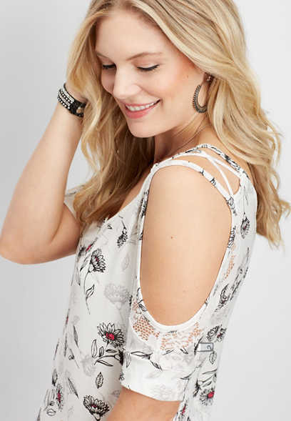 floral strappy lace cold shoulder tee