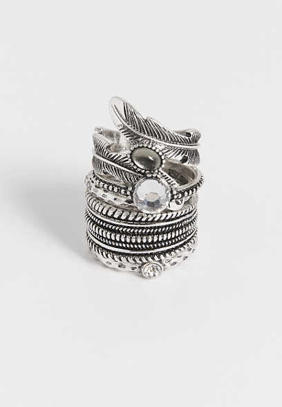 silvertone feather ring set