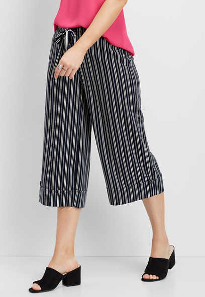 striped wide leg capri pant