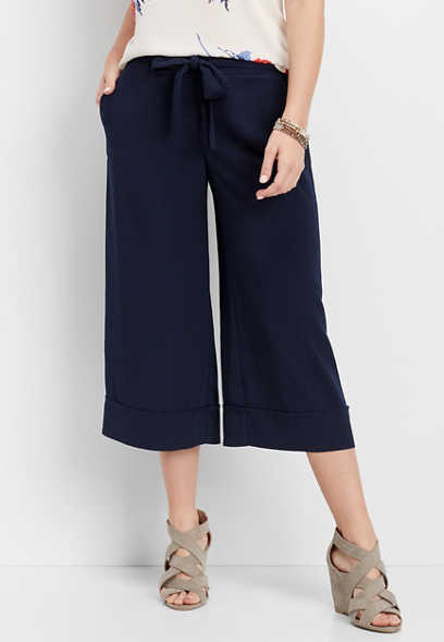 solid wide leg cropped pant
