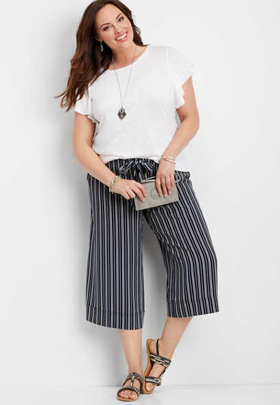 plus size striped wide leg capri pant