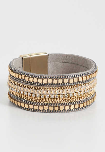 Maurices Gray And Tan Multi Row Magnet Bracelet TjFNsGlT