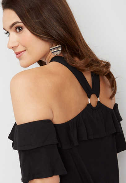 ring y-neck cold shoulder top