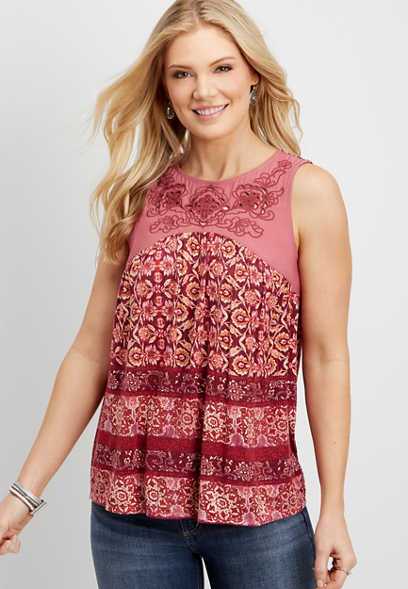 embroidered yoke patterned tank