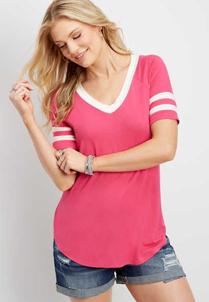 24/7 v-neck solid football tee