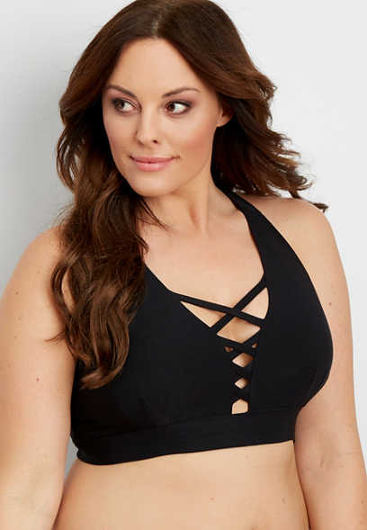 plus size strappy yoga bralette
