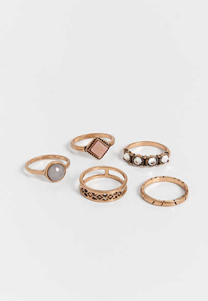 pink and gray stone ring set