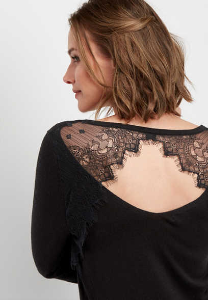 lace back pullover sweater