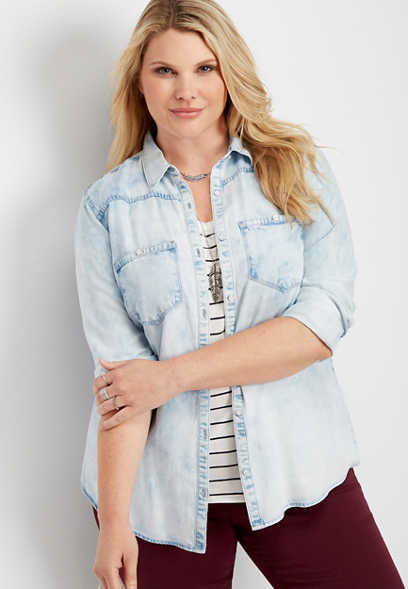 plus size washed out denim button down shirt