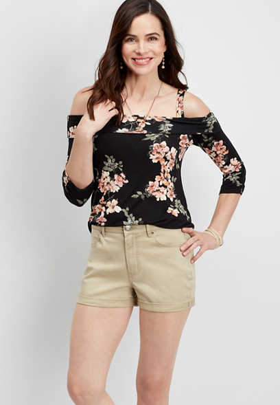 stretch twill high rise khaki short