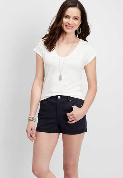 stretch twill high rise navy short