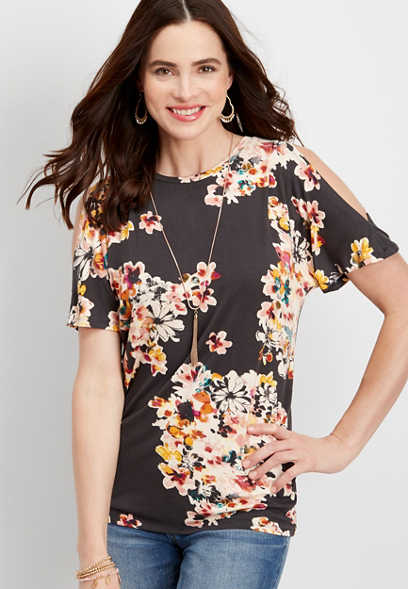 24/7 back ruched cold shoulder tee