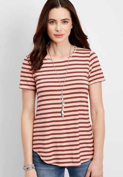 24/7 crew neck striped swing tee