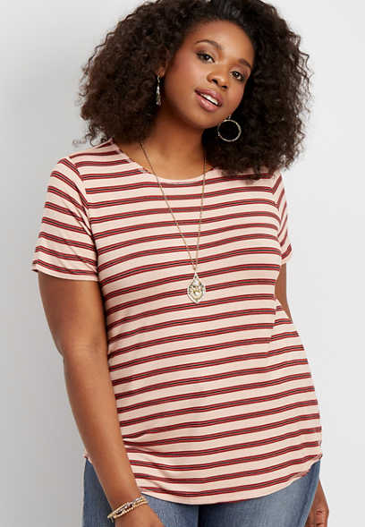 plus size 24/7 striped crew neck swing tee