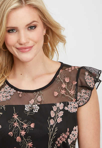embroidered floral mesh tank
