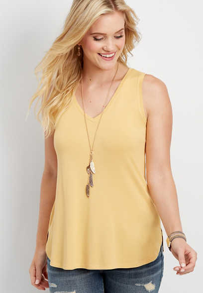 24/7 solid v-neck tank