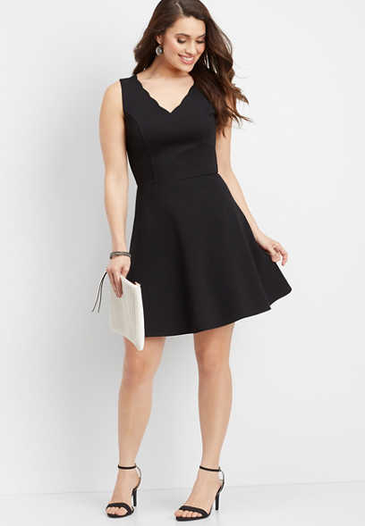 scalloped v-neckline skater dress