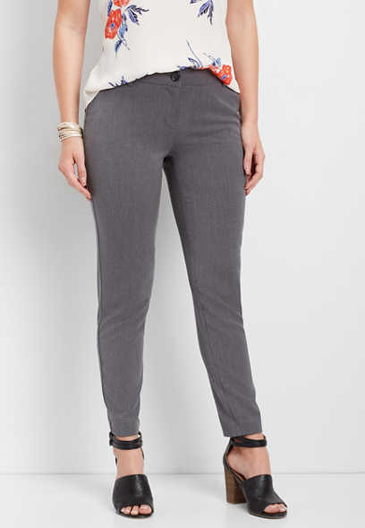 gray skinny ankle dress pant