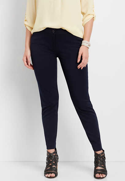 navy skinny ankle dress pant