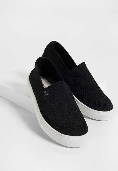 Heather knit mesh slip on sneaker