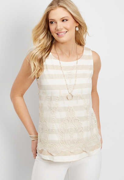 lace overlay striped tank