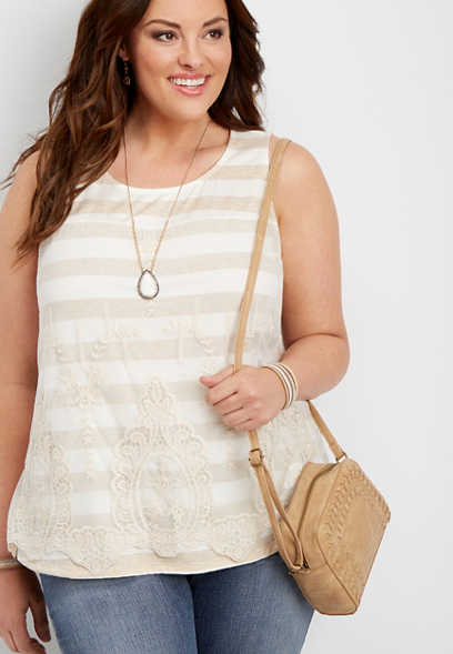 plus size lace overlay striped tank