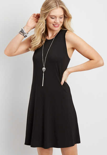 24/7 high neck swing tank dress