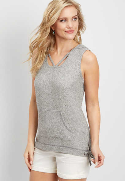 brushed sleeveless ribbed pullover